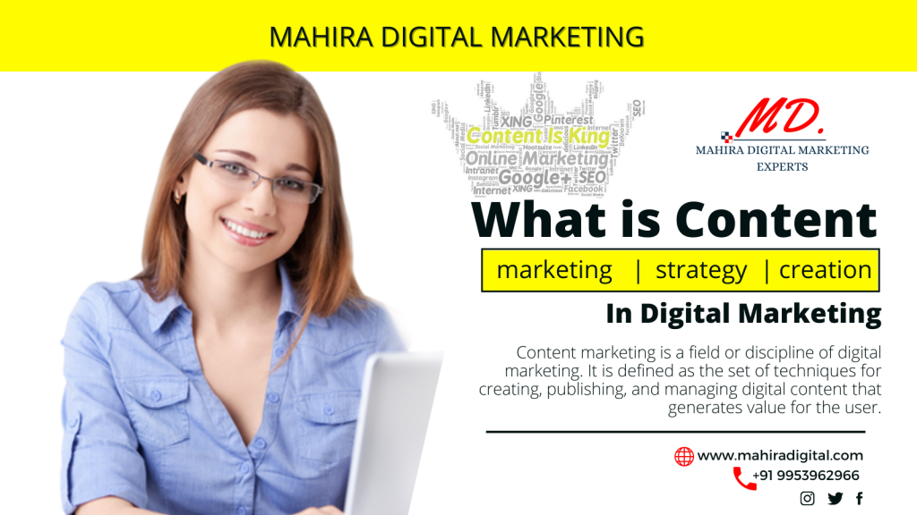 content marketing, strategy & creation in Digital Marketing